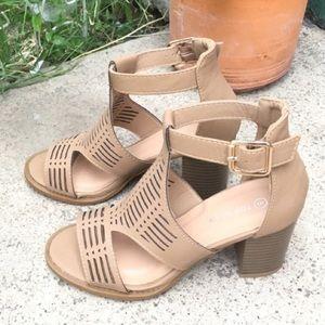 Perforated Tan Heels
